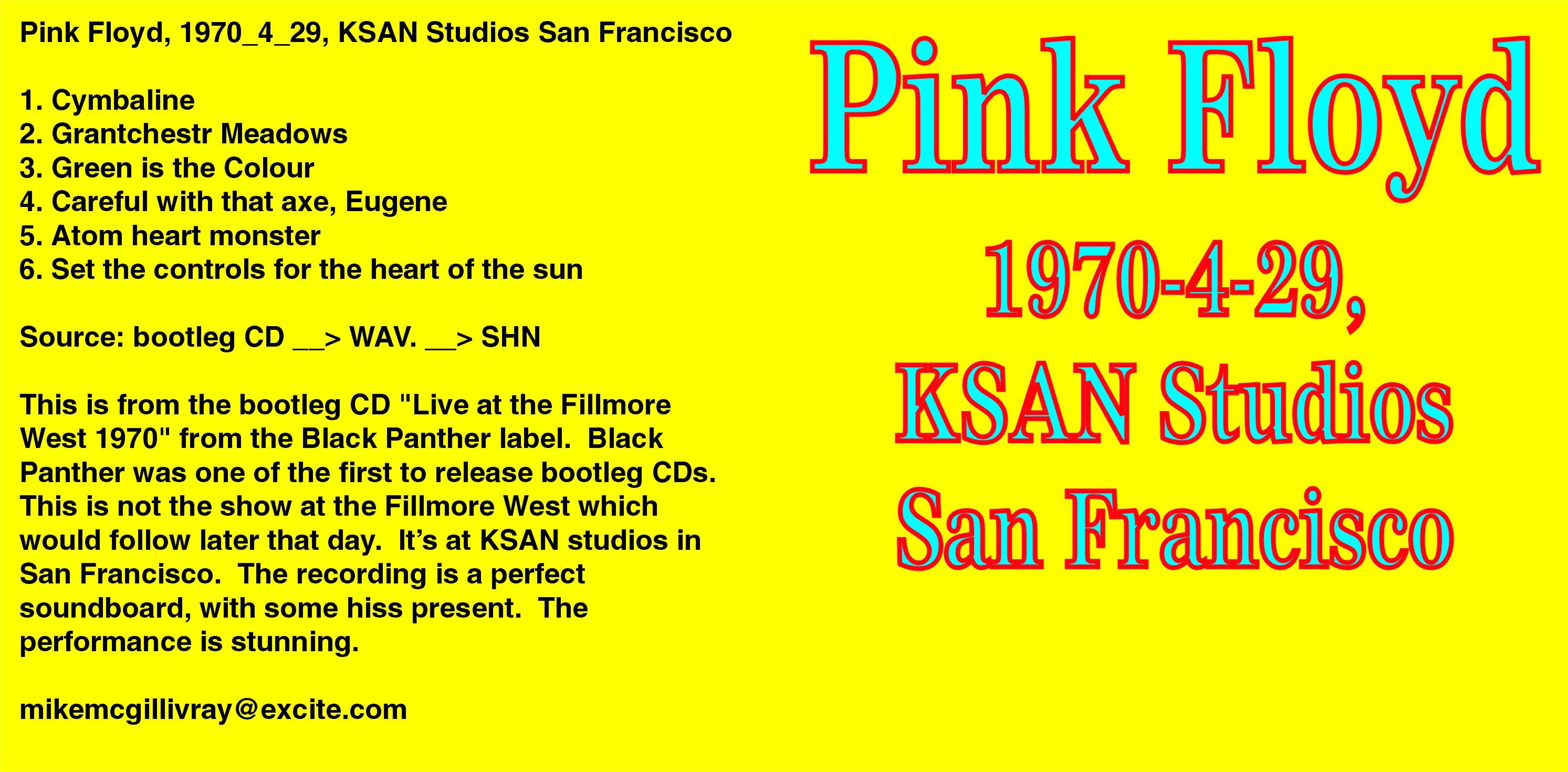 Lossless Search Results for Pink Floyd - KSAN Studios - San